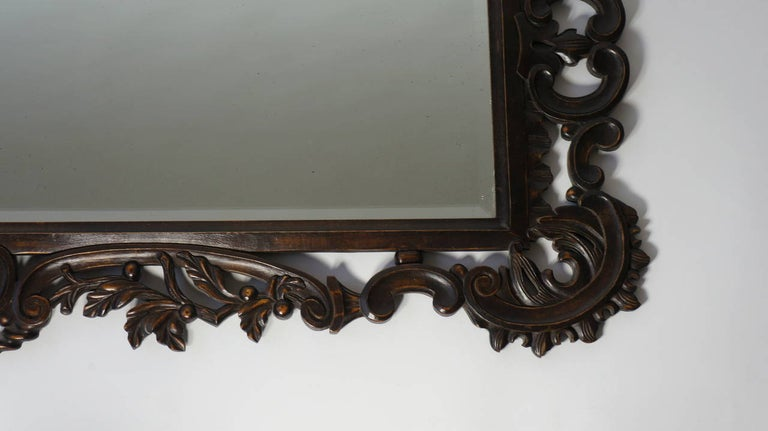 Italian Highly Carved Vintage Wooden Mirror For Sale