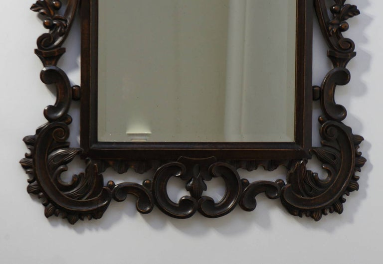 20th Century Highly Carved Vintage Wooden Mirror For Sale