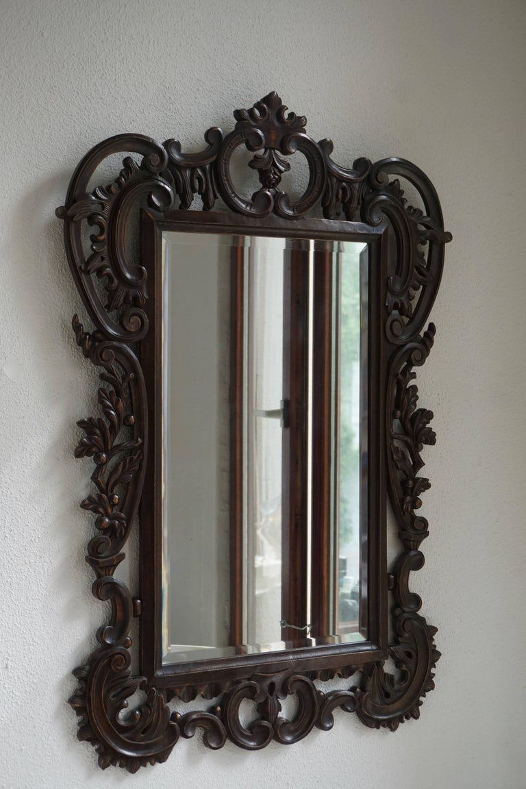 Highly Carved Vintage Wooden Mirror For Sale 1