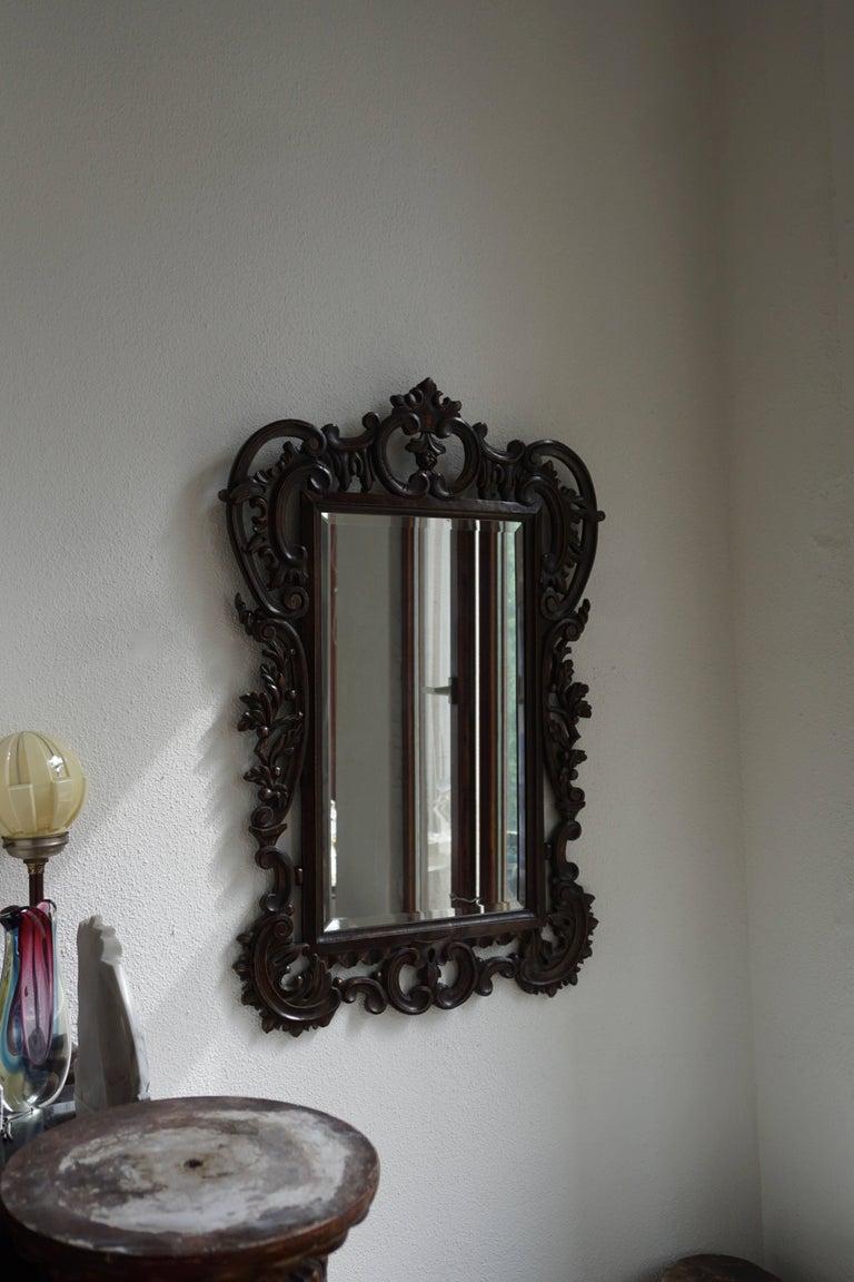 Highly Carved Vintage Wooden Mirror For Sale 2