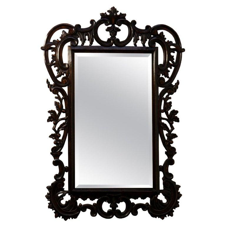Highly Carved Vintage Wooden Mirror For Sale