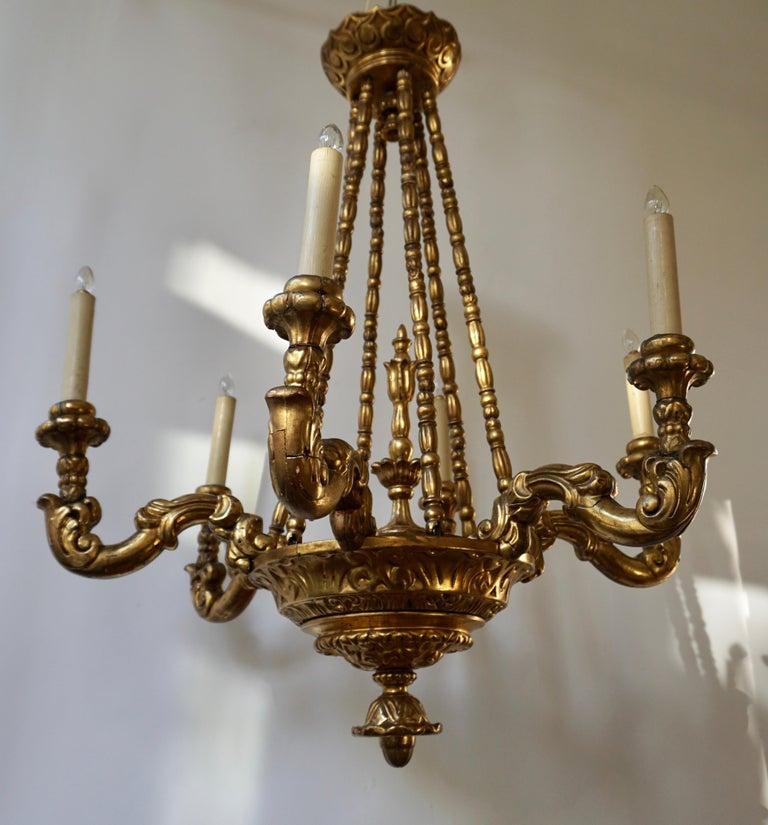 Hollywood Regency Highly Decorative and Elegant Gilded-Light Chandelier For Sale