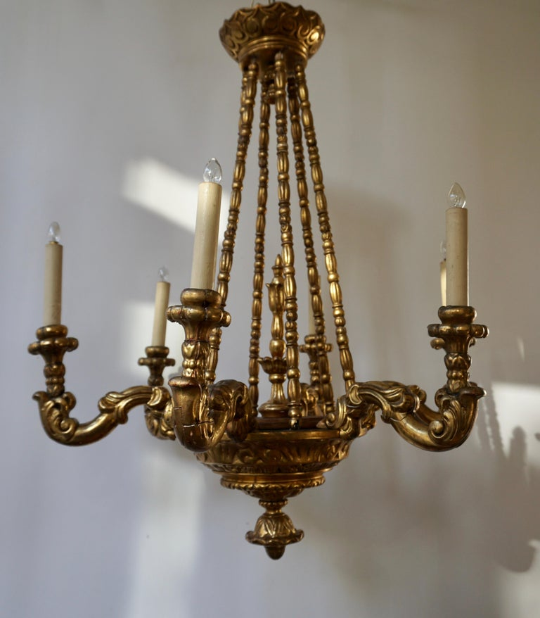Gilt Highly Decorative and Elegant Gilded-Light Chandelier For Sale