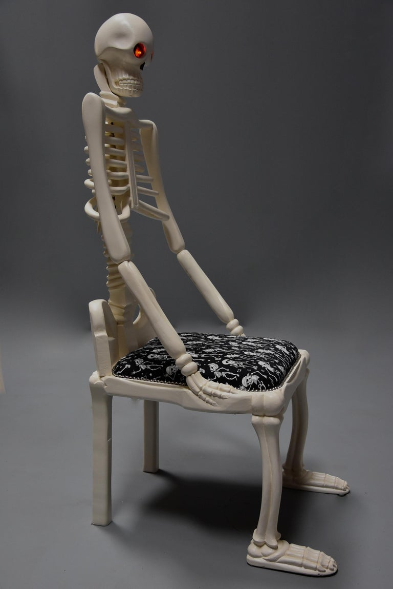 Highly Decorative and Unusual Hand-Carved and Painted Wooden Skeleton Chair For Sale 5