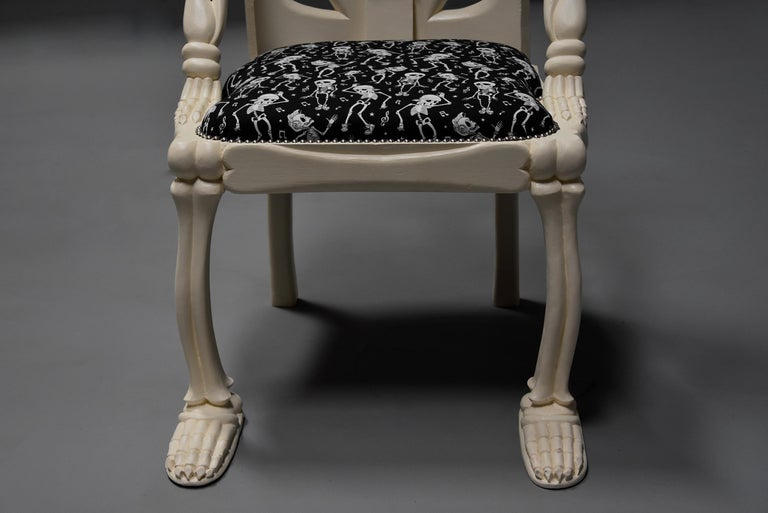 Highly Decorative and Unusual Hand-Carved and Painted Wooden Skeleton Chair For Sale 8