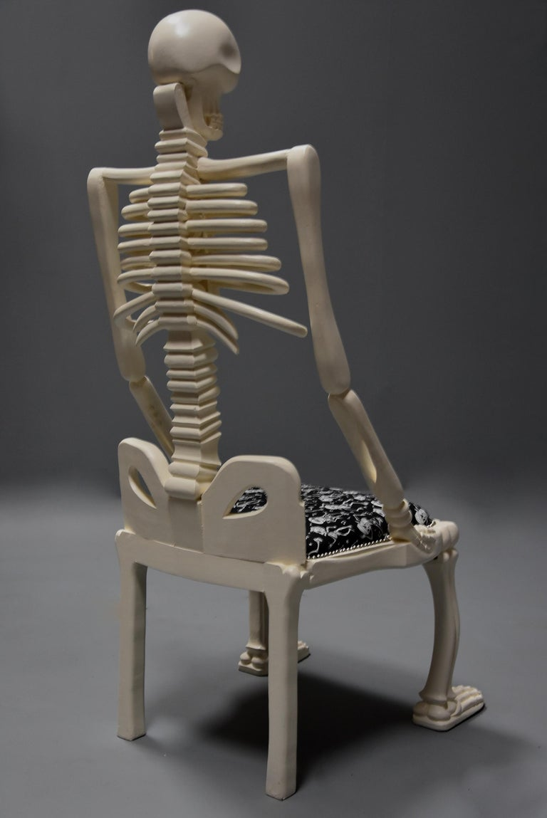 Highly Decorative and Unusual Hand-Carved and Painted Wooden Skeleton Chair For Sale 9