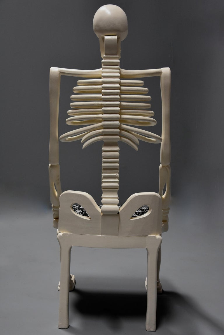 Highly Decorative and Unusual Hand-Carved and Painted Wooden Skeleton Chair For Sale 10
