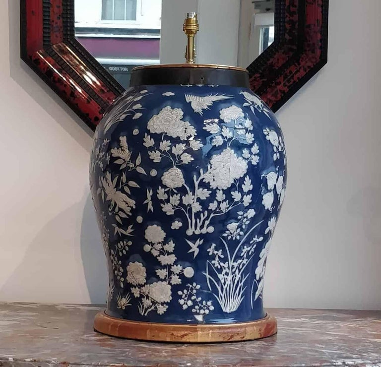 Chinese Export Highly Decorative Blue and White Chinese Vase Mounted as a Table Lamp For Sale