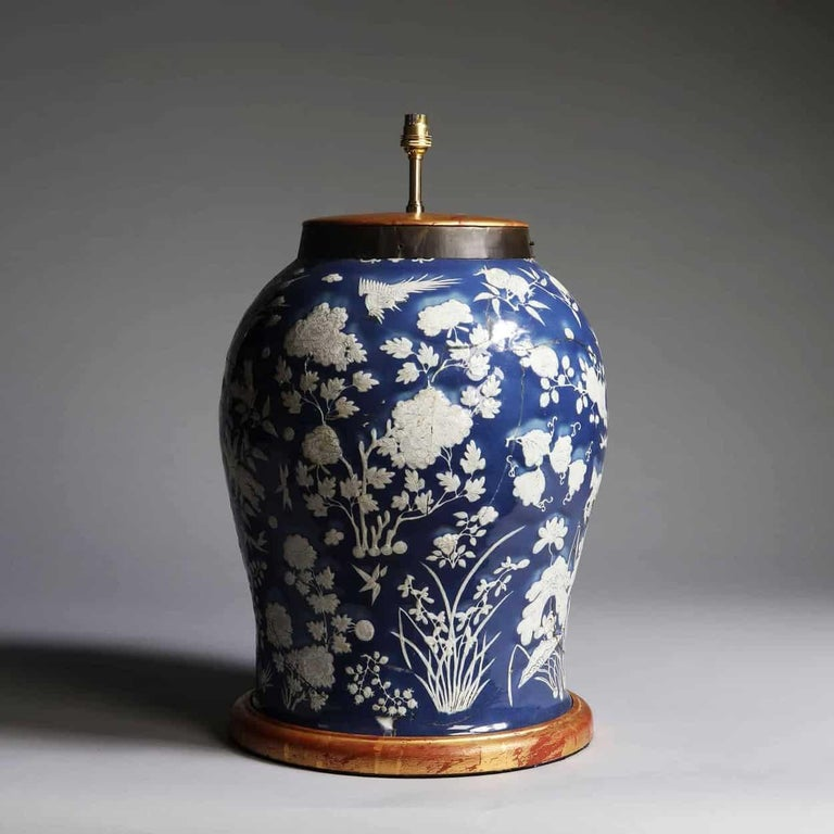 19th Century Highly Decorative Blue and White Chinese Vase Mounted as a Table Lamp For Sale