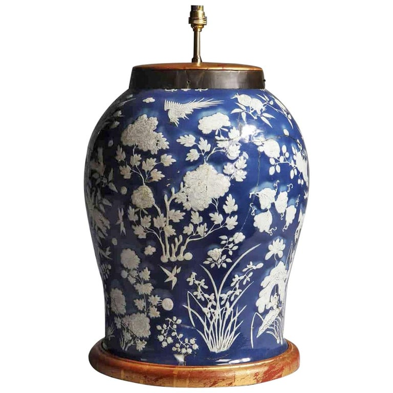 Highly Decorative Blue and White Chinese Vase Mounted as a Table Lamp For Sale