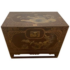 Highly Decorative Chinoiserie Style Painted Trunk on Stand