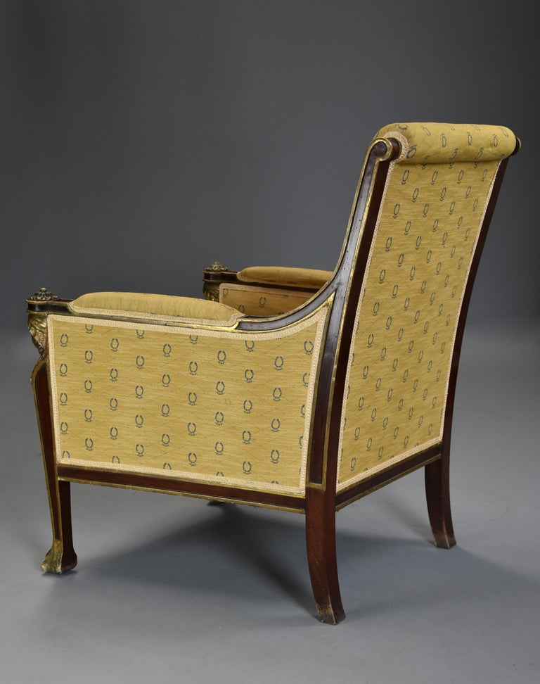 Highly Decorative Early 20th Century French Empire Style Mahogany Armchair For Sale 7
