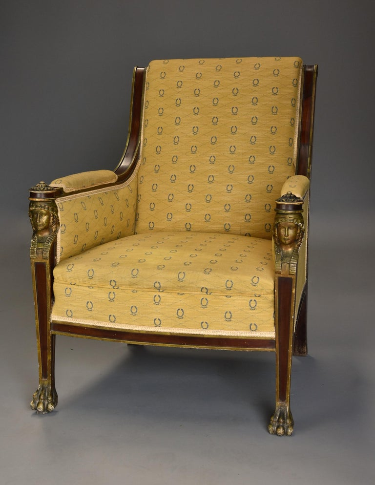 Highly Decorative Early 20th Century French Empire Style Mahogany Armchair In Distressed Condition For Sale In Suffolk, GB