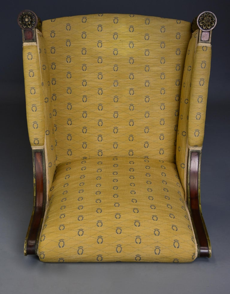 Highly Decorative Early 20th Century French Empire Style Mahogany Armchair For Sale 4
