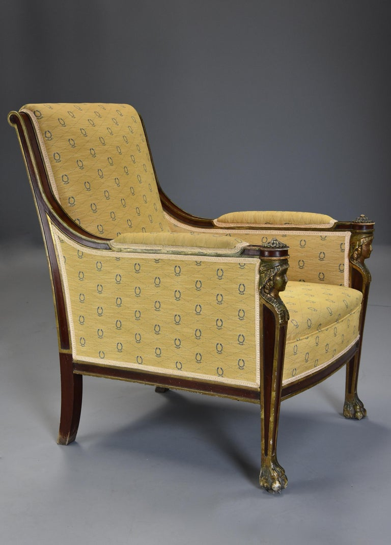 Highly Decorative Early 20th Century French Empire Style Mahogany Armchair For Sale 5
