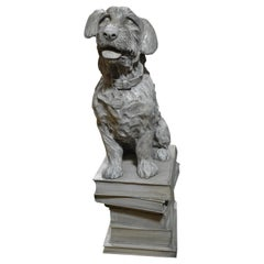 Highly Decorative Full Size Sculpture of a Dog Sitting on Books