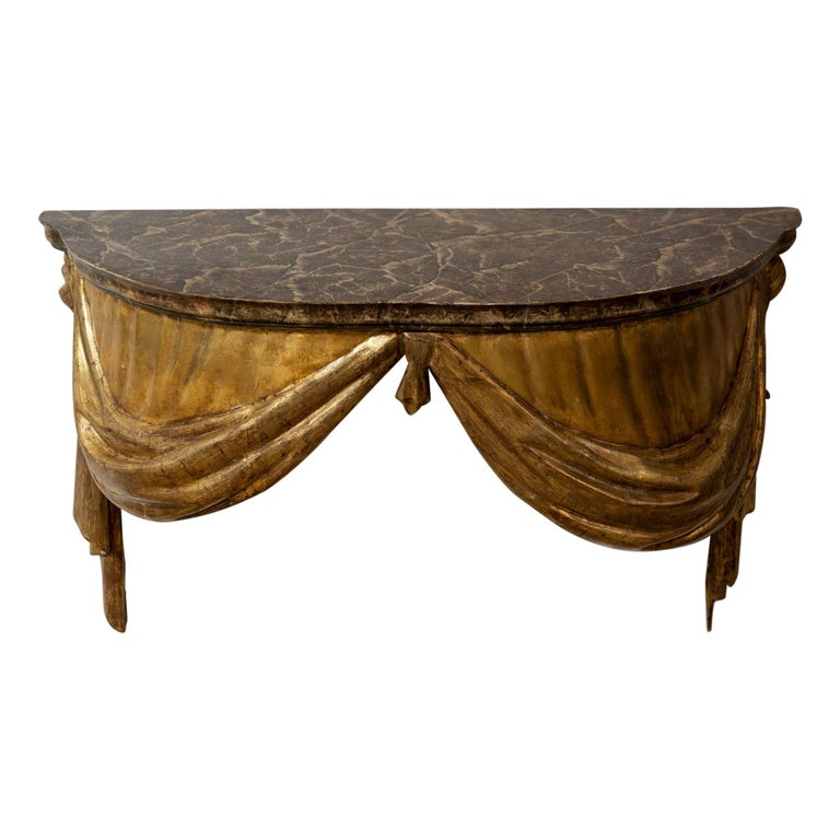 Highly Decorative Italian Painted and Gilded Console Table, circa 19th Century For Sale