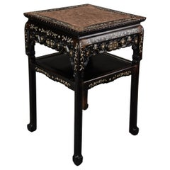 Highly Decorative Chinese Hardwood and Mother of Pearl Square Pot Stand