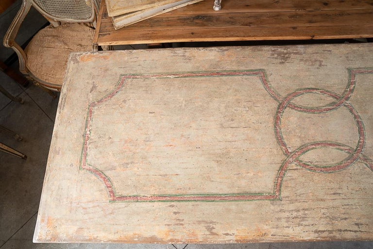 19thc Painted Italian country farm table.