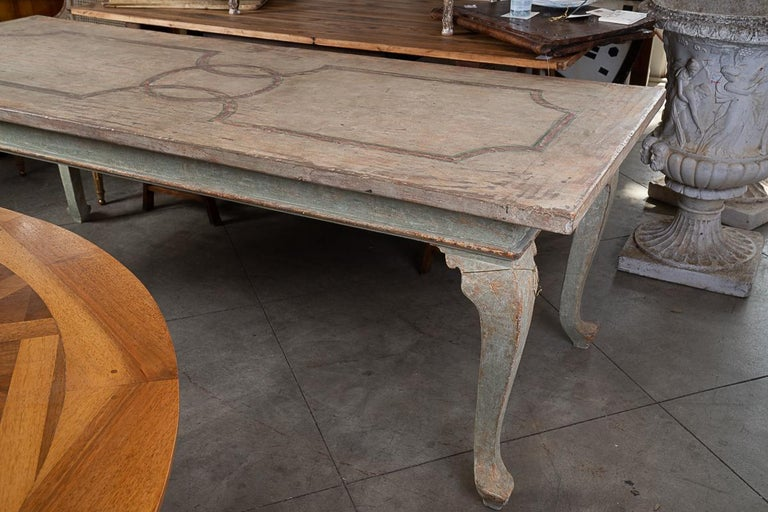 Highly Decorative Painted Italian Provincial Dining Table For Sale 1