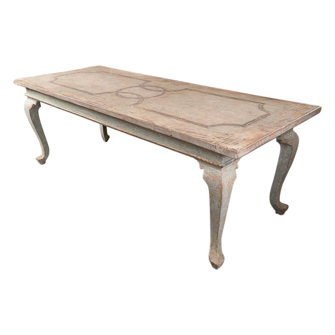Highly Decorative Painted Italian Provincial Dining Table
