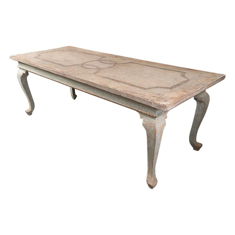 Highly Decorative Painted Italian Provincial Dining Table For Sale