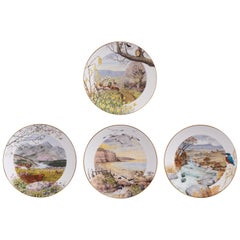 Highly Decorative Set of 4 Royal Worcester Fine Porcelain Plates