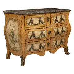 Highly Decorative Yellow and Cream Painted Chinoiserie Bombe Commode Marble Top
