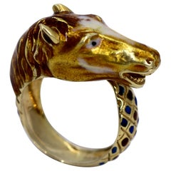 Highly Detailed Enamel Horse with Harlequin Tail