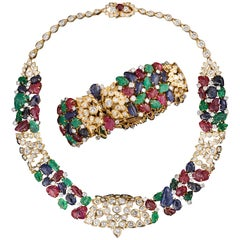 Highly Important Cartier Tutti Frutti Bracelet and Necklace Set