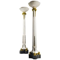 Highly Important Monumental Pair of Ormolu Mounted Marble Floor Lamps