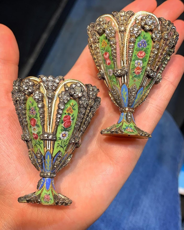 Highly Important Museum Quality Pair of Diamond and Enamel Zarfs For Sale 10