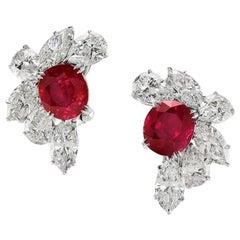 Highly Important No Heat Burma Ruby Diamond Earrings