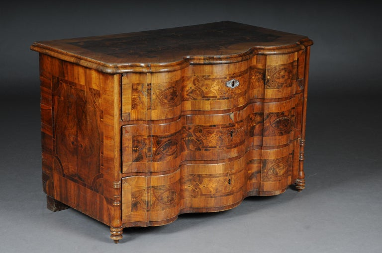 German Highly Interesting Inlaid Baroque Commode, circa 1740 For Sale