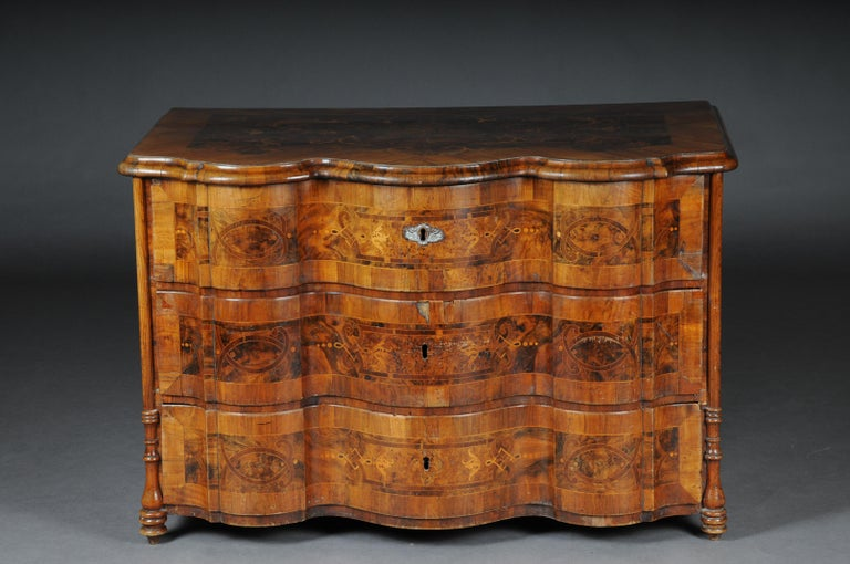Hardwood Highly Interesting Inlaid Baroque Commode, circa 1740 For Sale