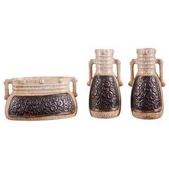 Highly Original Set of Ivory Color Ceramic Vases with Black Relief Designs