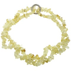 Highly Polished Citrine Chip Infinity Necklace