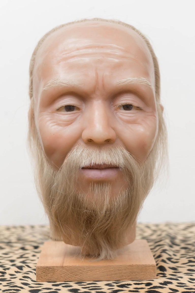 Chinese Export Highly Realistic Wax Head of a Chinese Man, Mid-20th Century For Sale