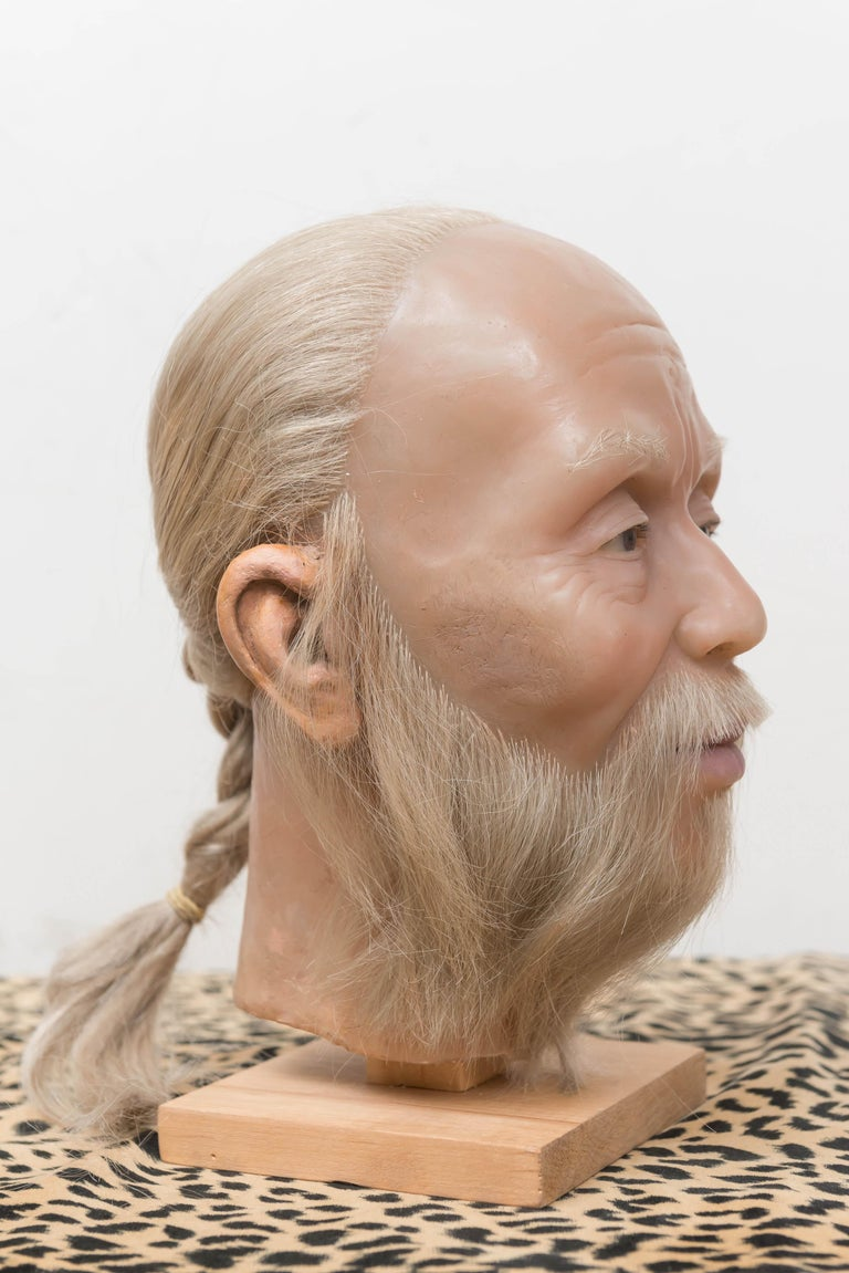 Hong Kong Highly Realistic Wax Head of a Chinese Man, Mid-20th Century For Sale