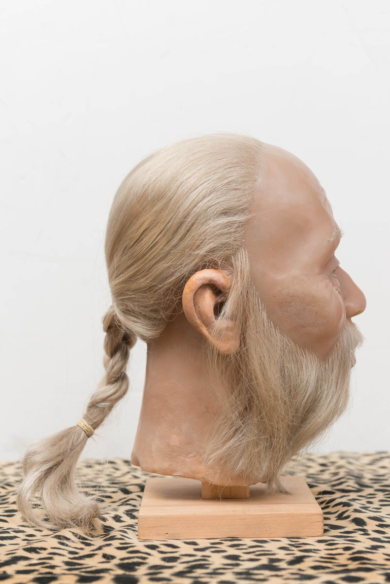 Molded Highly Realistic Wax Head of a Chinese Man, Mid-20th Century For Sale