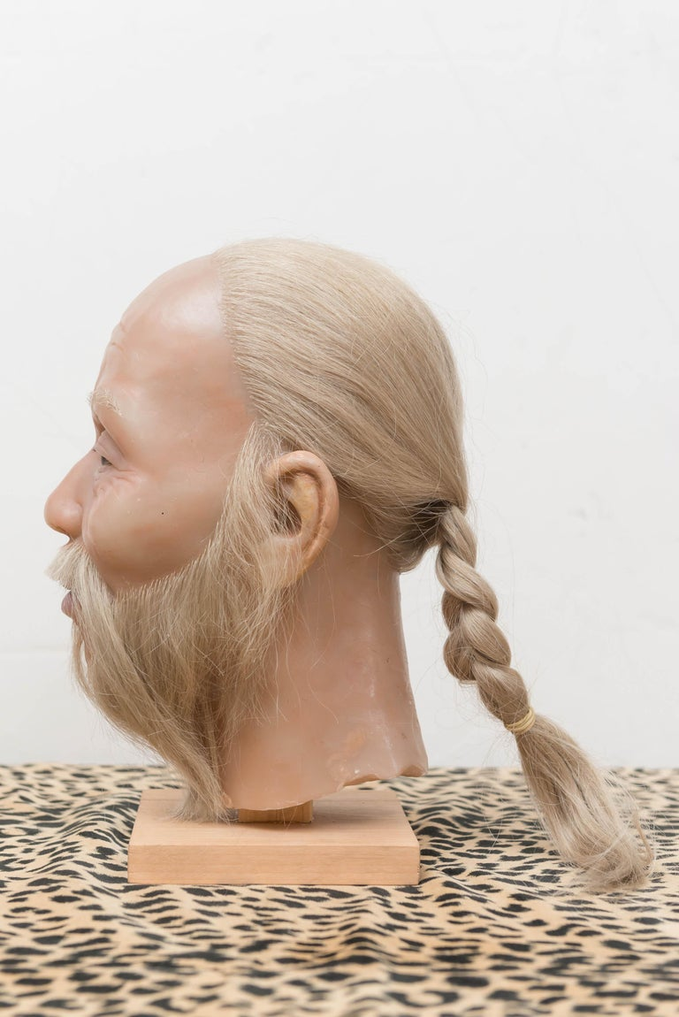 Organic Material Highly Realistic Wax Head of a Chinese Man, Mid-20th Century For Sale