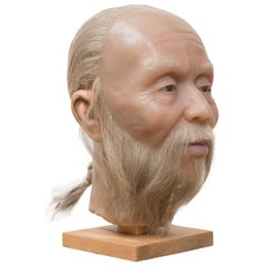 Highly Realistic Wax Head of a Chinese Man, Mid-20th Century