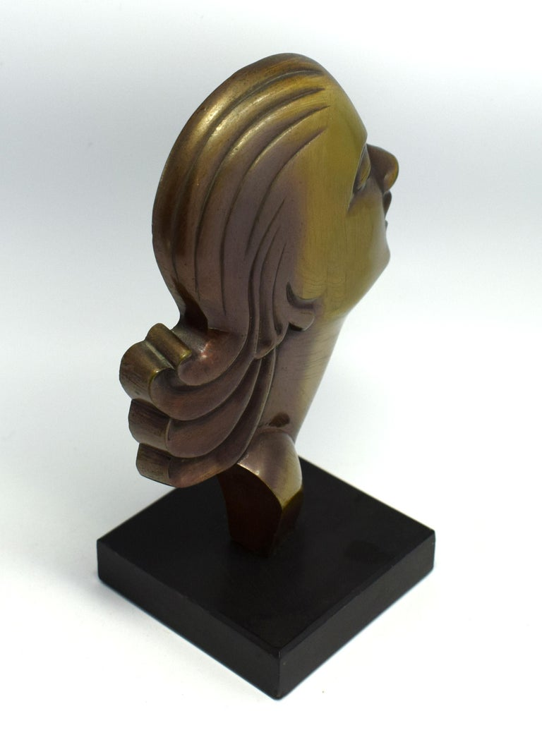 Highly Styled French Brass Art Deco Bust, French, circa 1930 In Good Condition For Sale In Devon, England