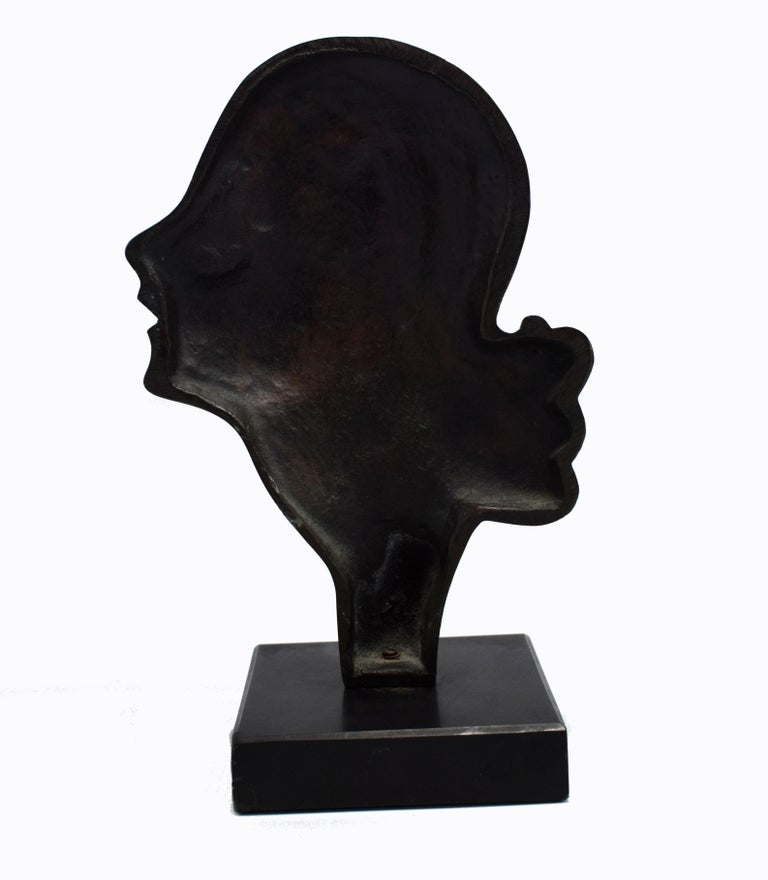 20th Century Highly Styled French Brass Art Deco Bust, French, circa 1930 For Sale