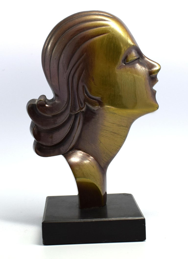 Highly Styled French Brass Art Deco Bust, French, circa 1930 For Sale 3