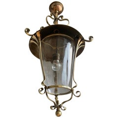 Highly Stylish Brass & Clear Glass Arts and Crafts Pendant / Light Fixture c1910