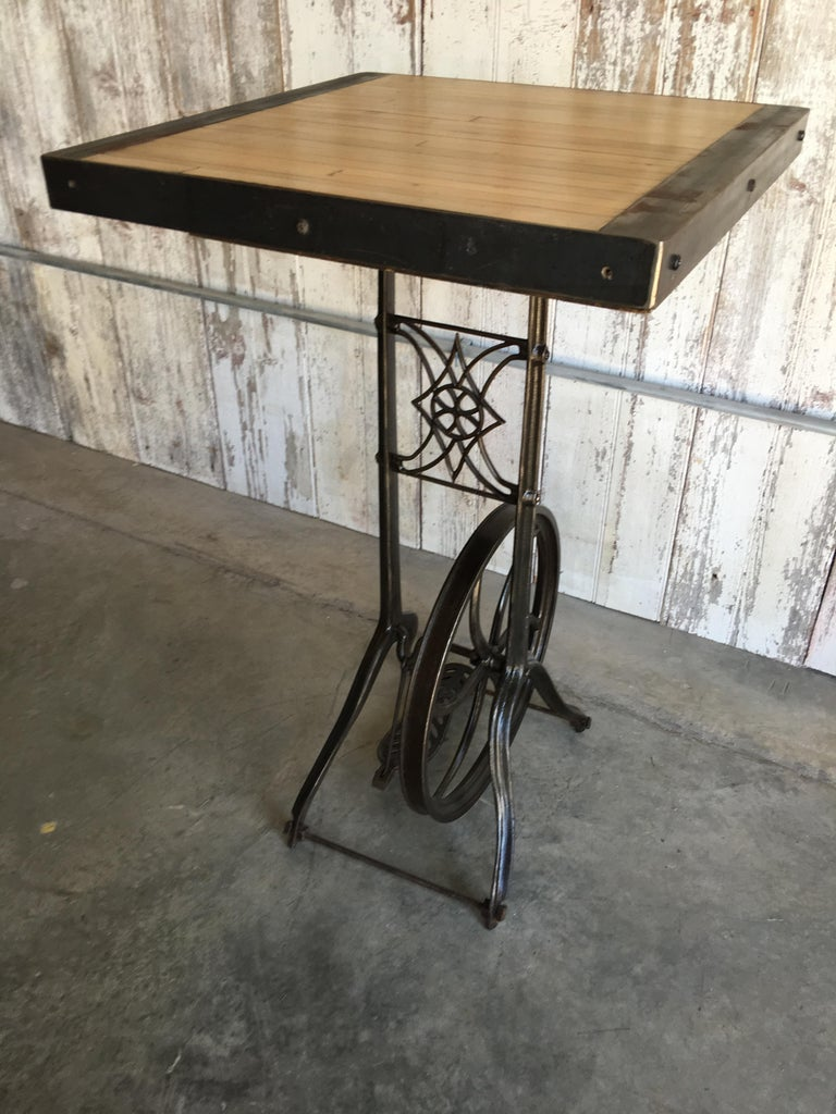 Hightop Table on Industrial Base For Sale 4