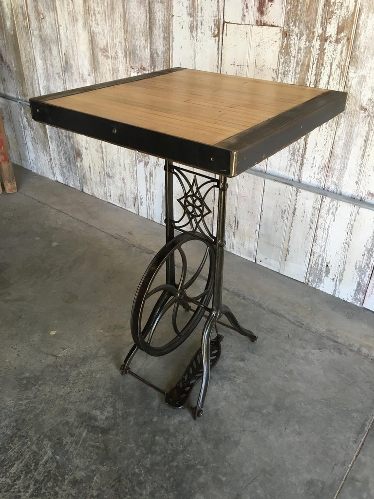 Hightop Table on Industrial Base In Good Condition For Sale In Haddonfield, NJ
