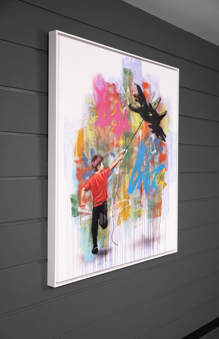 'In No Sense' by Hijack is a unique acrylic and mixed media painting on canvas, created in 2020. Signed by the Artist, this original work possesses vibrant contemporary color palette and striking subject matter. Symbolic of the changing focus of