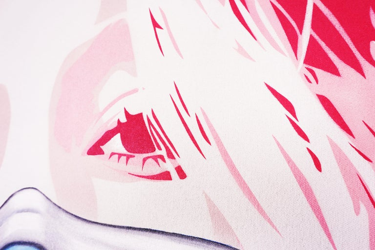 'Kate Mask' by Hijack is a unique acrylic painting on canvas, created in 2020. Signed by the Artist, this original painting by the legendary street-art star is an Arton Contemporary exclusive. A masked Kate Moss is the subject of the hot pink